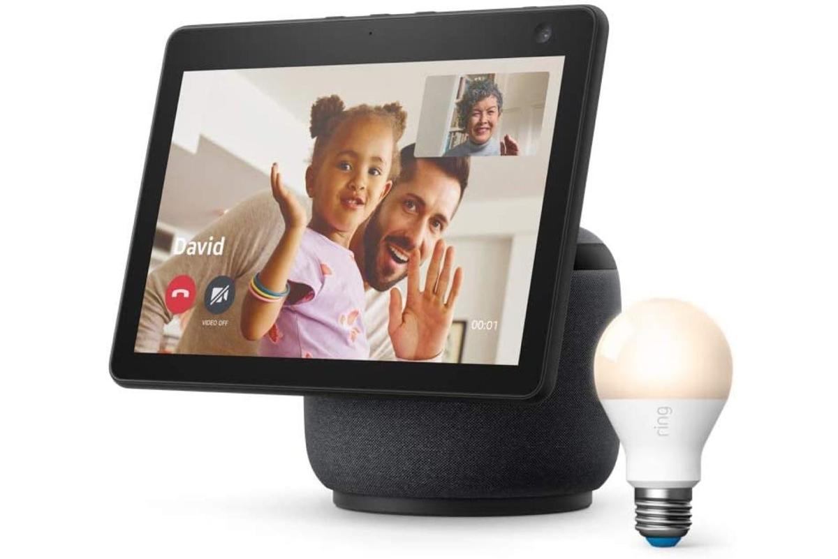 All-new Echo Show 10 (3rd Gen) with FREE Ring A19 Smart LED Bulb