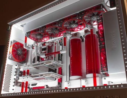 red and white gaming PC