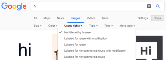Google Images for Copyright free images