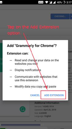 Chrome Extensions permission dialog on Android
