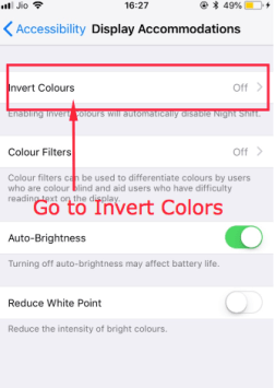 Select Invert Colors Option