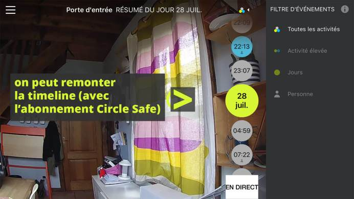 Remonter la timeline Logitech Circle Safe TechArea