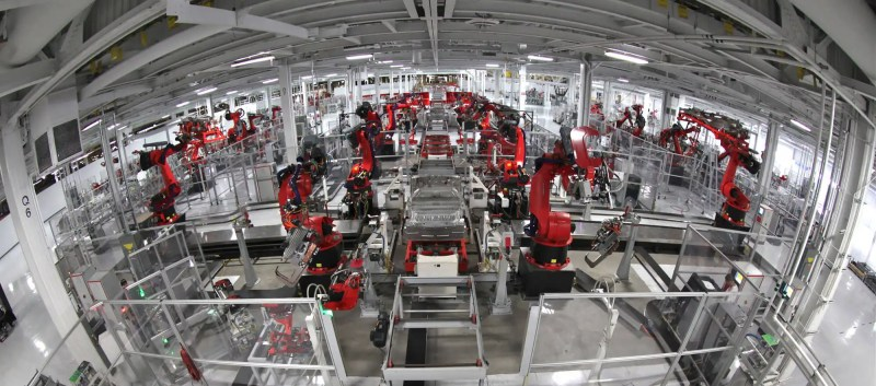 Automation rules everywhere, even at tesla motor manufacturing factory.