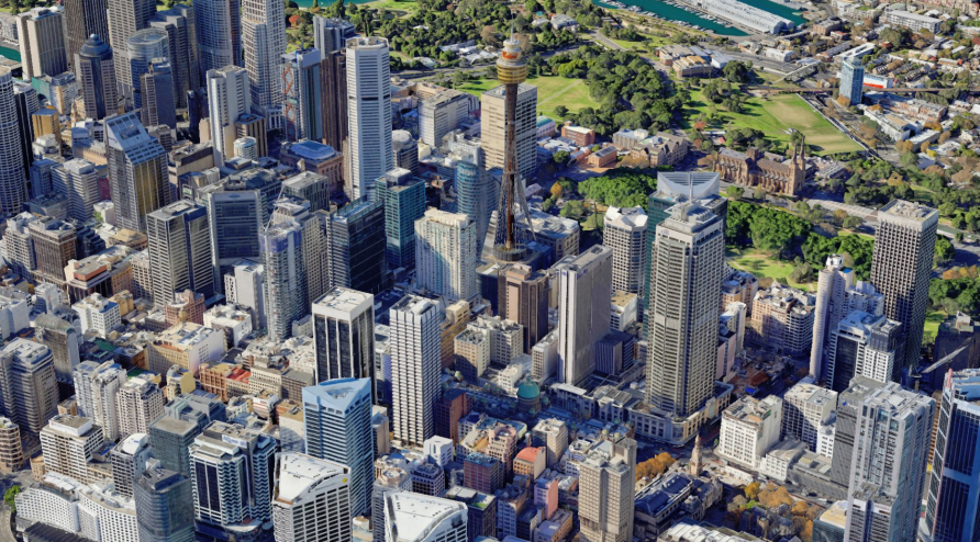 This isn't SimCity, it's Sydney on Google Earth, in 3D