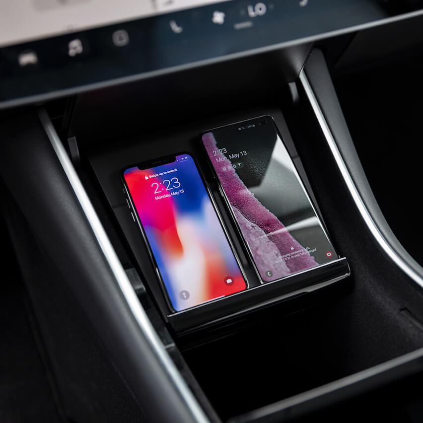 Forget the aftermarket, Tesla has their own Qi wireless