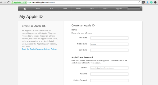 Apple ID on Apple iPad Air