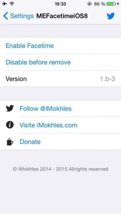 MEFaceTimeiOS8, Activate FaceTime in Unsupported Countries