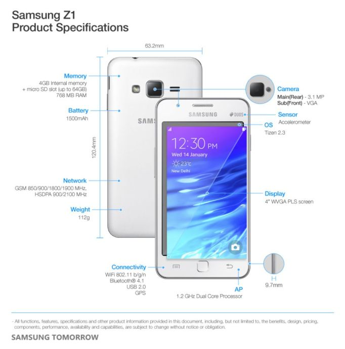 Samsung-Z1-Product-Specifications