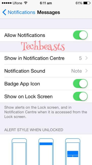 disable lock screen notification on iPhone/iPad