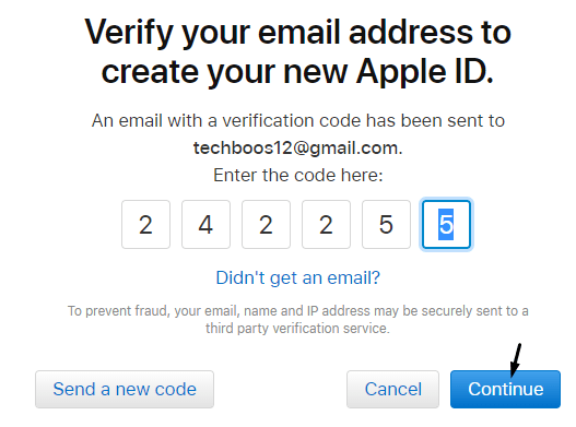 Verification Code for apple id