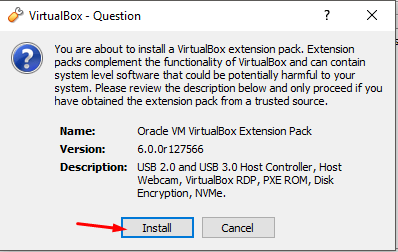 Installation of extension pack