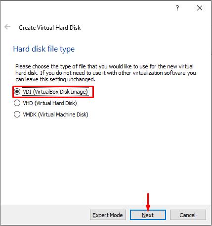 Choose Hard Disk Type