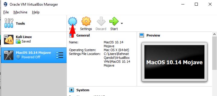 create new virtualbox