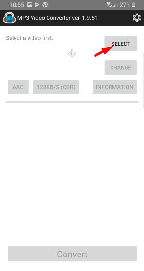 Select file in mp3 video converter