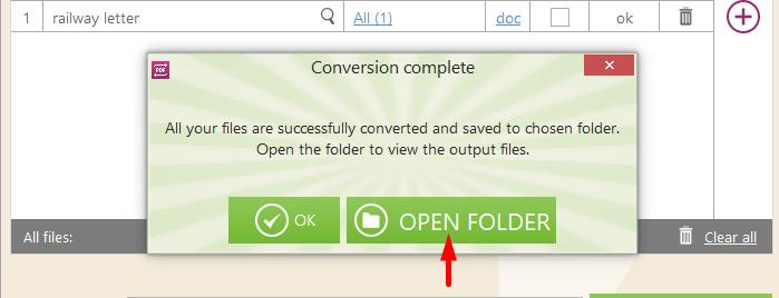 Open PDF Conversion Folder