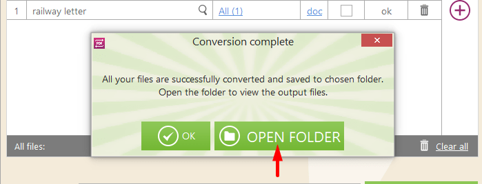 Open PDF Conversion Folder