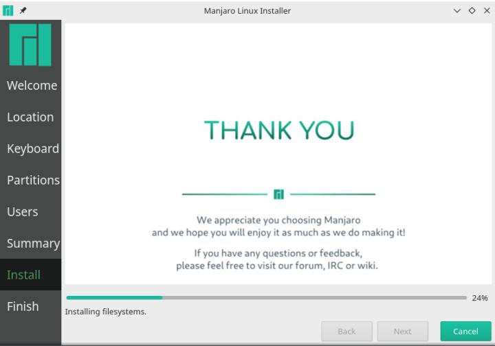 manjaro linux is installing on virtualbox