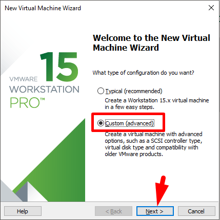 select custom option for creating a new virtual machine
