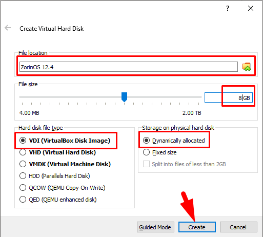 how to install zorin os on virtualbox