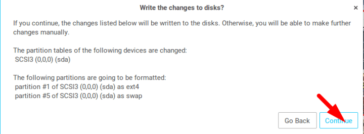 write changes to the disk