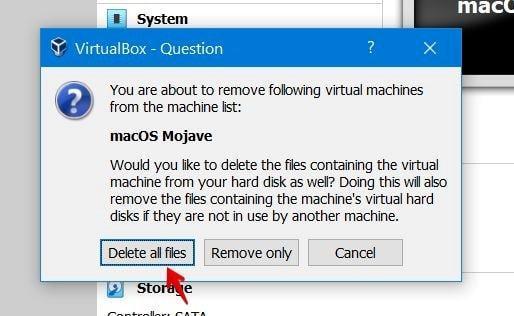 delete all files from virtualbox