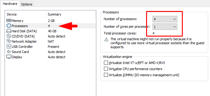 increase processor CPU amount