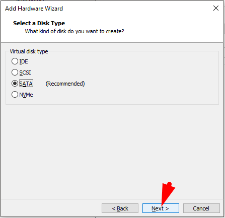 select SATA for hard disk