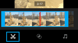Tap Scissor icon to trim a video