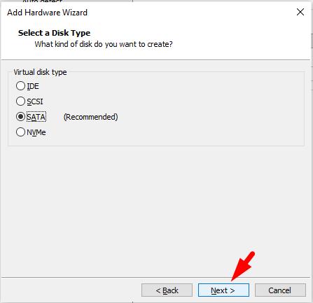 Select SATA for macos catalina hard disk