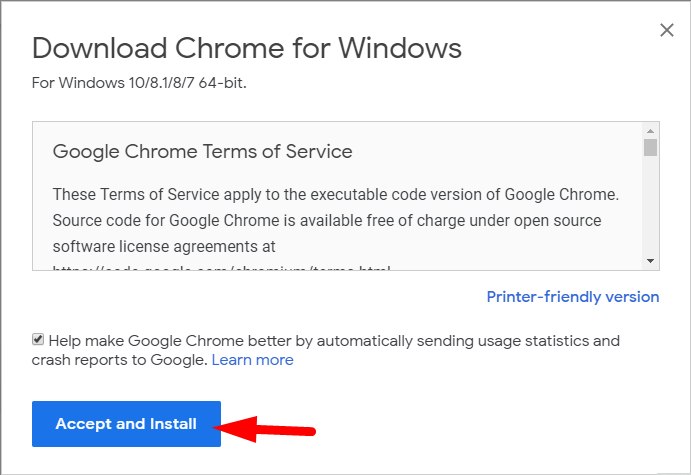 Accept and Install Chrome 76