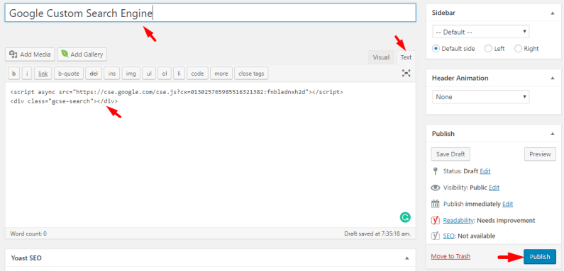 Paste CSE Code on New Page