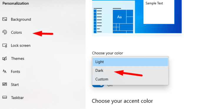 Choose Dark Color for Windows 10