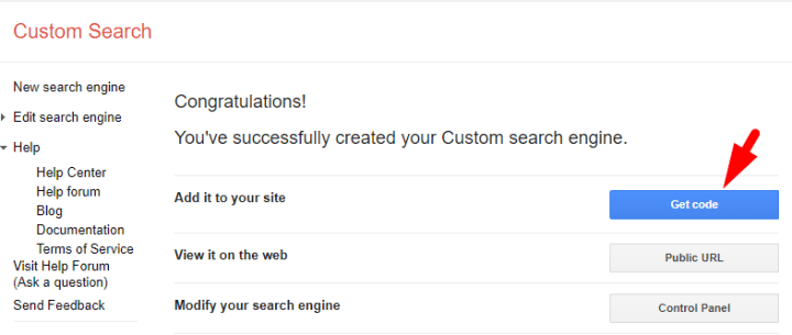Create Google Custom Search Code