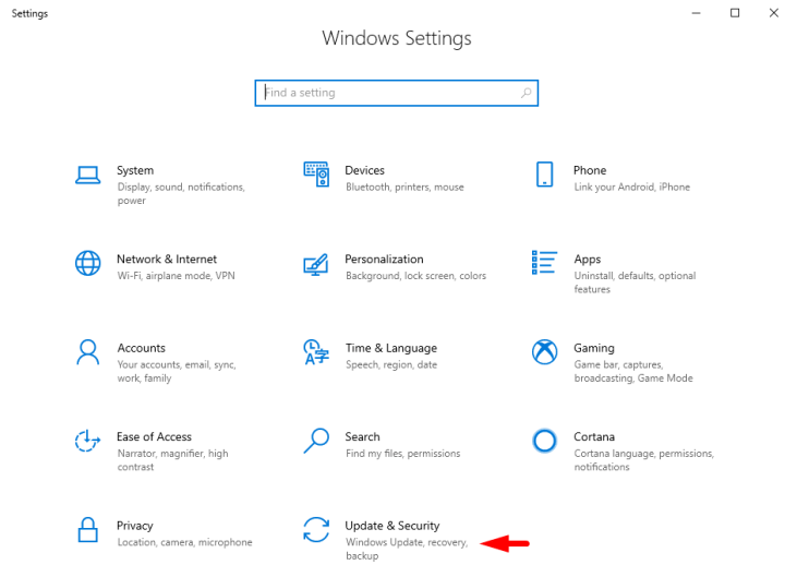 Windows 10 Update and Security