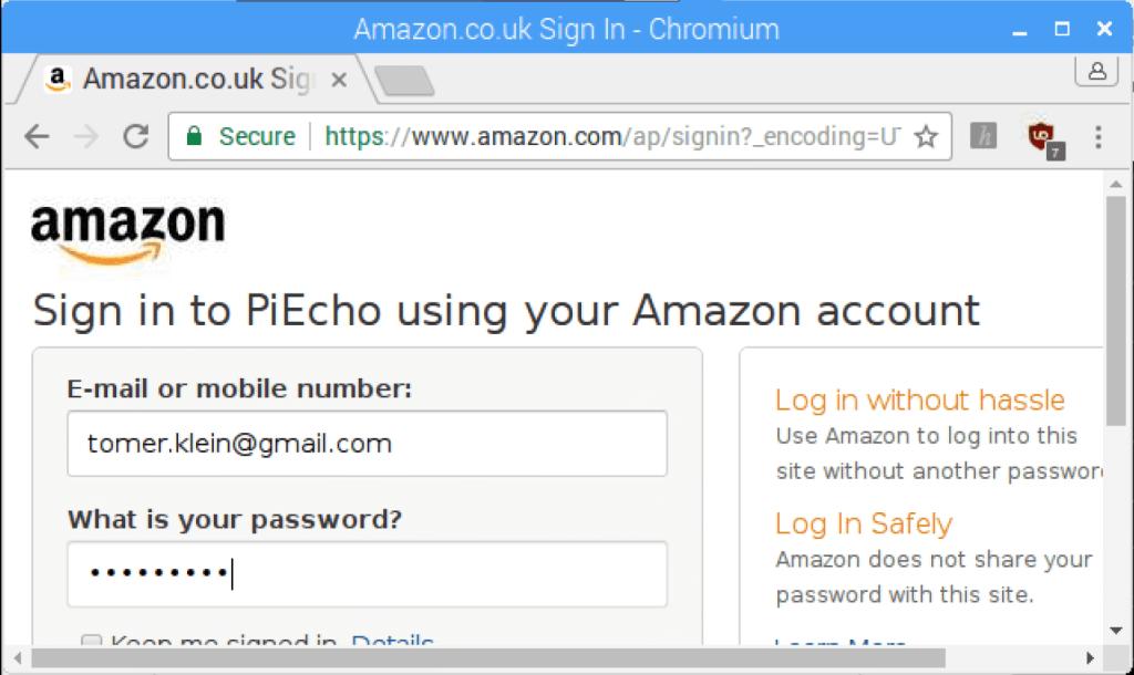 Echo Pi - Login to amazin devrloper account