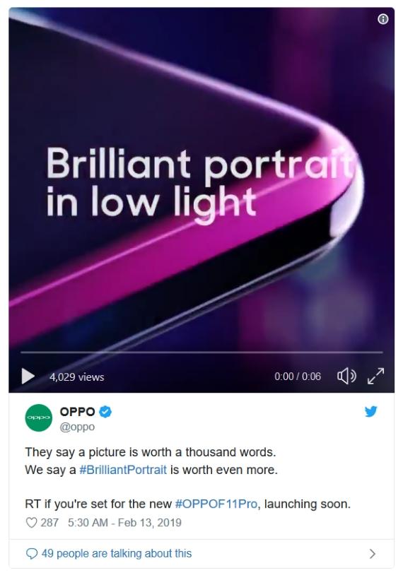 Oppo F11 Pro: Teaser video και pop-up selfie κάμερα