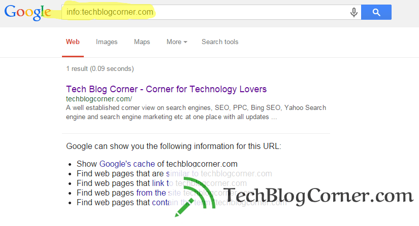 Info command in Google