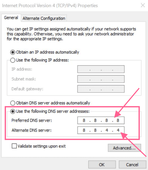 change dns address err_timed_out