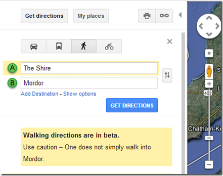Google knows that you don't just walk into Mordor