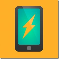 Smartphone with lightning icon