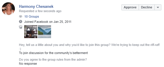 Old Facebook bots/accounts are trying to join Facebook Groups – oddly specifically