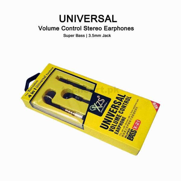 Universal Volume Control Earphones Black