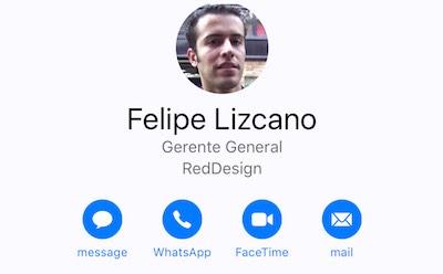 iOS 10 Contacto Botón Whatsapp