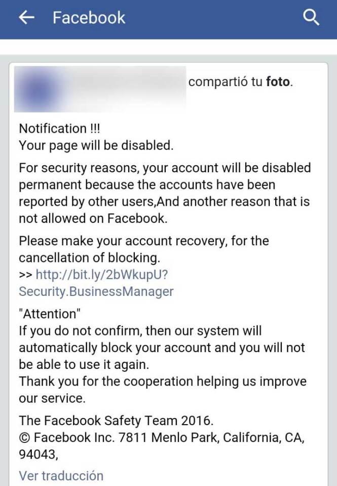 Notificación falsa Facebook