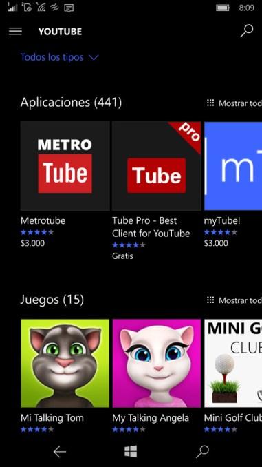 Opciones para App de YouTube