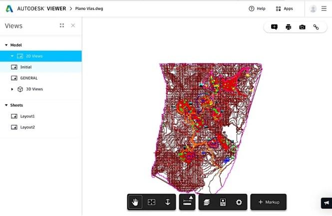 Autodesk viewer abriendo un plano