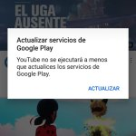 Error al actualizar la app de YouTube