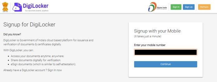 How to Get a DigiLocker Account Screenshot 1