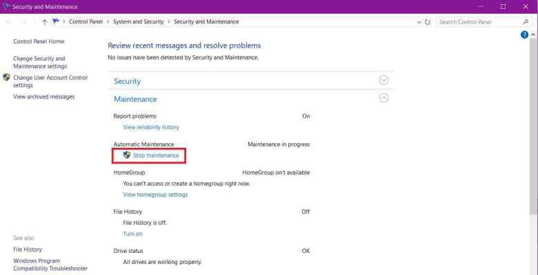 Windows 10 Maintenance Option