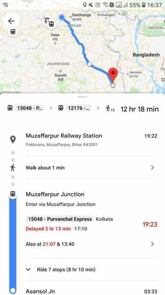 Live Train Status Option in Google Maps